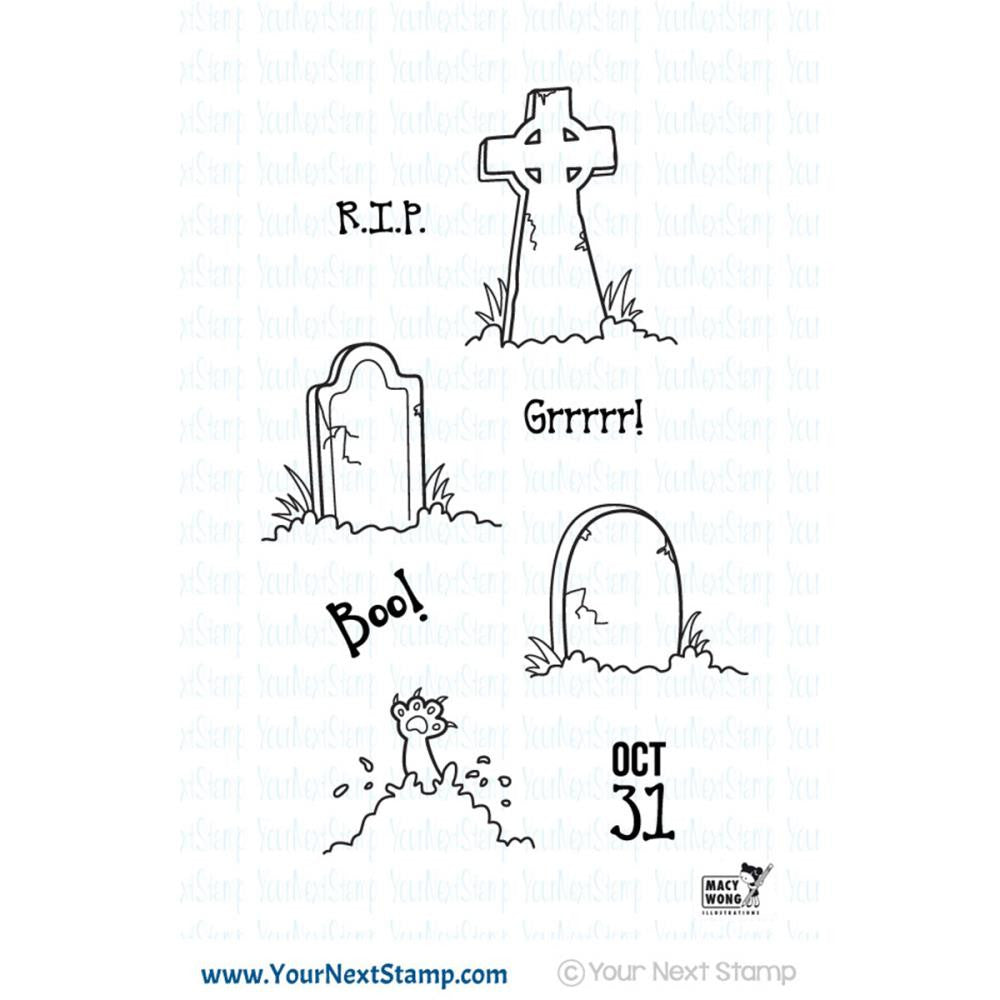 "Your Next Stamp, Clear Stamps 4""X4"" - Halloween Graveyard"