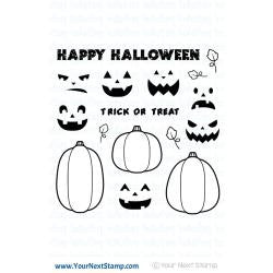 "Your Next Stamp, Clear Stamps 4""X4"" - Halloween Pumpkins"