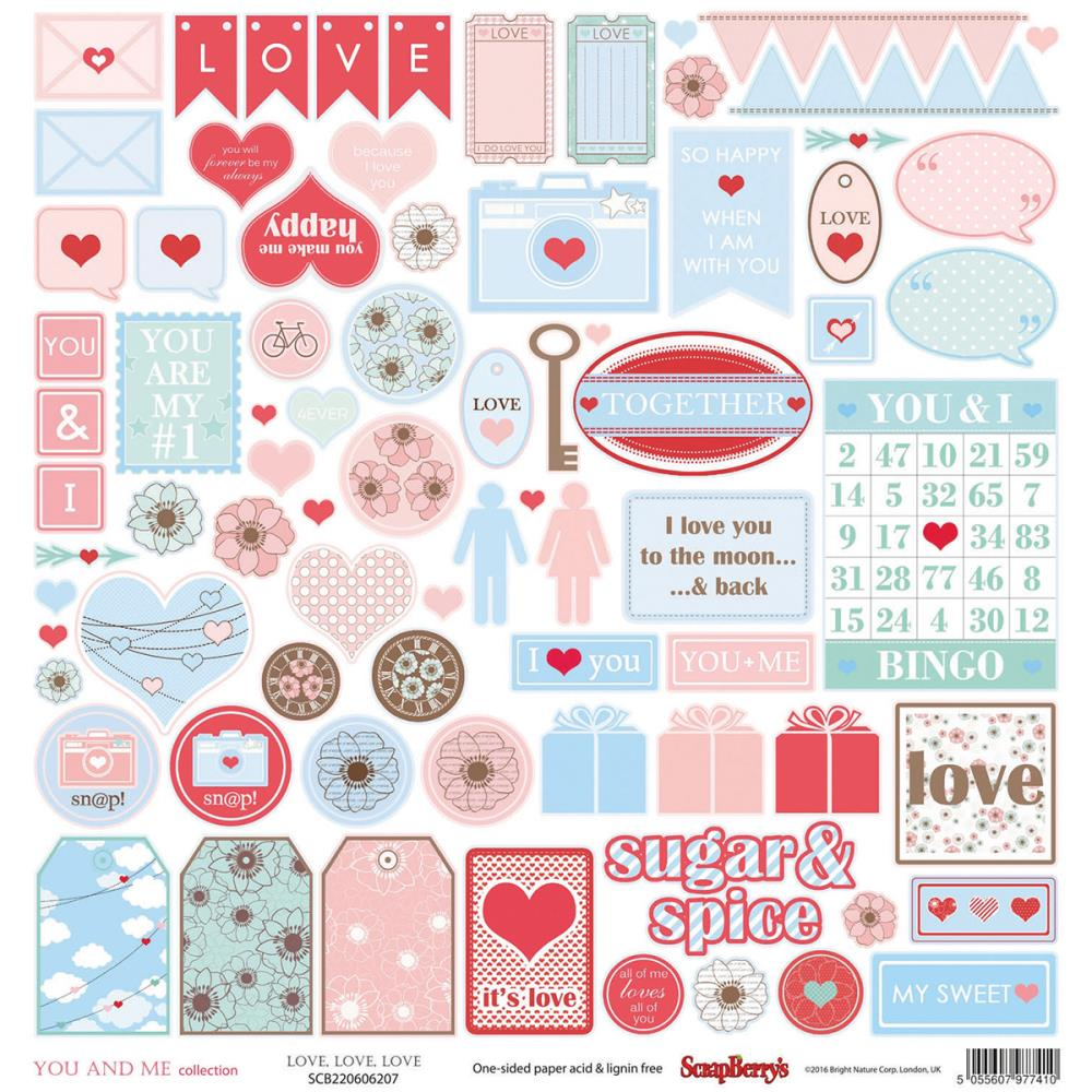 "July4Special ScrapBerry's You And Me Single-Sided Cardstock 12""X12"" - Love, Love, Love"
