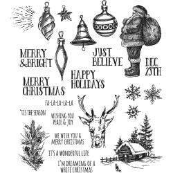 "***New Item*** Tim Holtz - Cling Rubber Stamp Set 7""X8.5"" - Holiday Drawings"