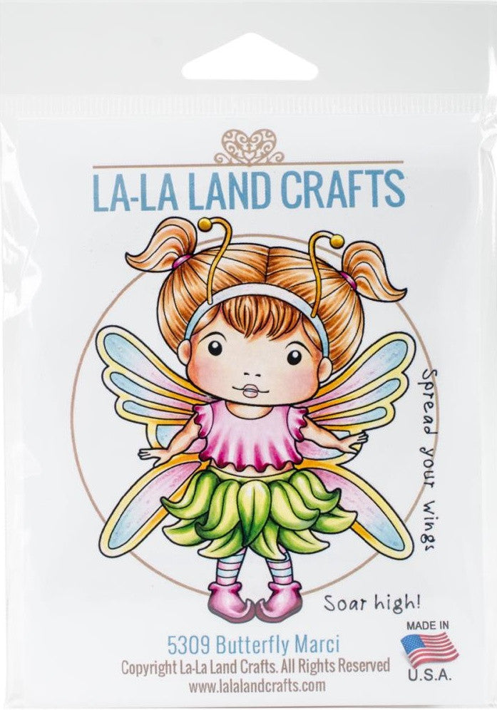 "La-La Land Crafts - Cling Stamps 4.5"" x 3.5"" - Butterfly Marci"