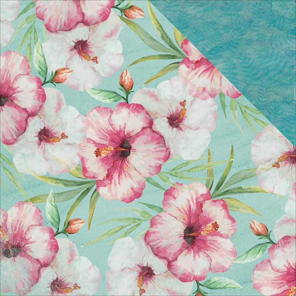 "Kaisercraft - Island Escape Double-Sided Cardstock 12"" x 12"" - Pink Hibiscus"