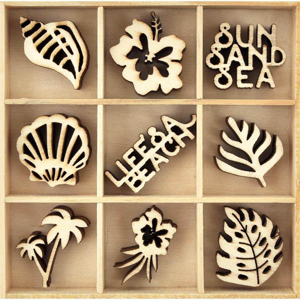 Kaisercraft - Themed Mini Wooden Flourishes 45/Pkg - Life's A Beach