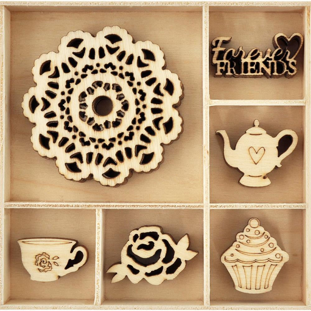 Kaisercraft - Themed Mini Wooden Flourishes 30/Pkg - Tea Party
