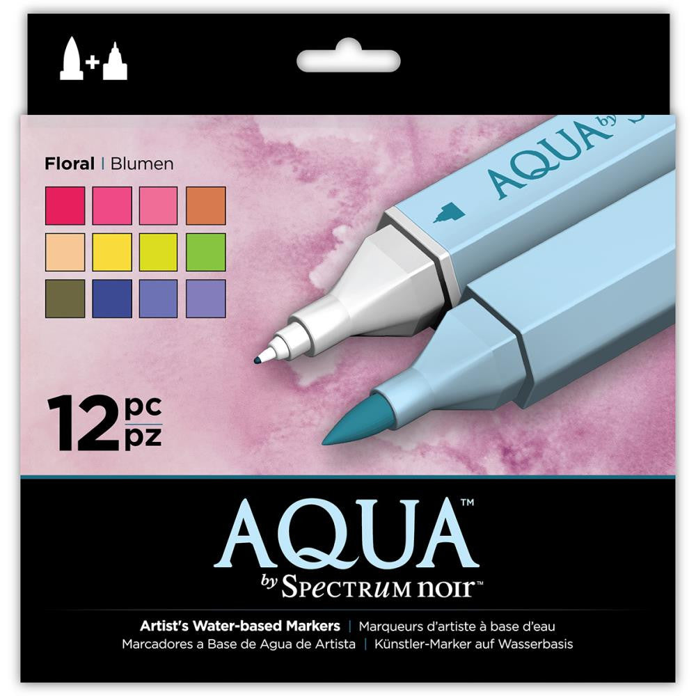 Crafter's Companion Spectrum Noir Aqua Markers - Floral - Set of 12