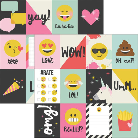 "Simple Stories- Emoji Love Double-Sided Elements Cardstock 12""X12"" - 3""X4"" Journaling Cards (Availability: March 17, 2017)"