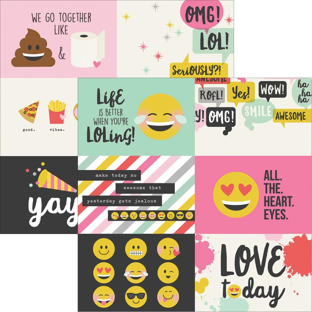 "Simple Stories- Emoji Love Double-Sided Elements Cardstock 12""X12"" - 4""X6"" Horizontal Journaling Cards"
