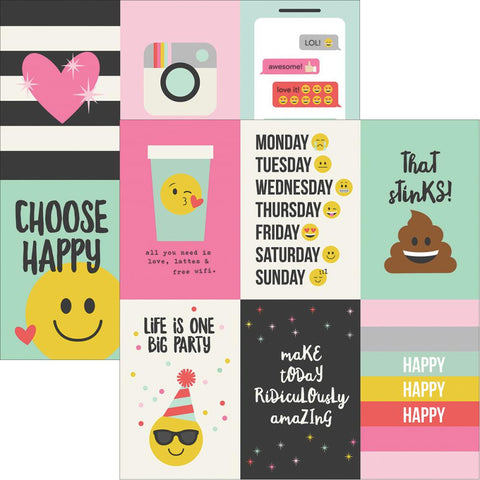 "Simple Stories- Emoji Love Double-Sided Elements Cardstock 12""X12"" - 4""X6"" Vertical Journaling Cards (Availability: March 17, 2017)"