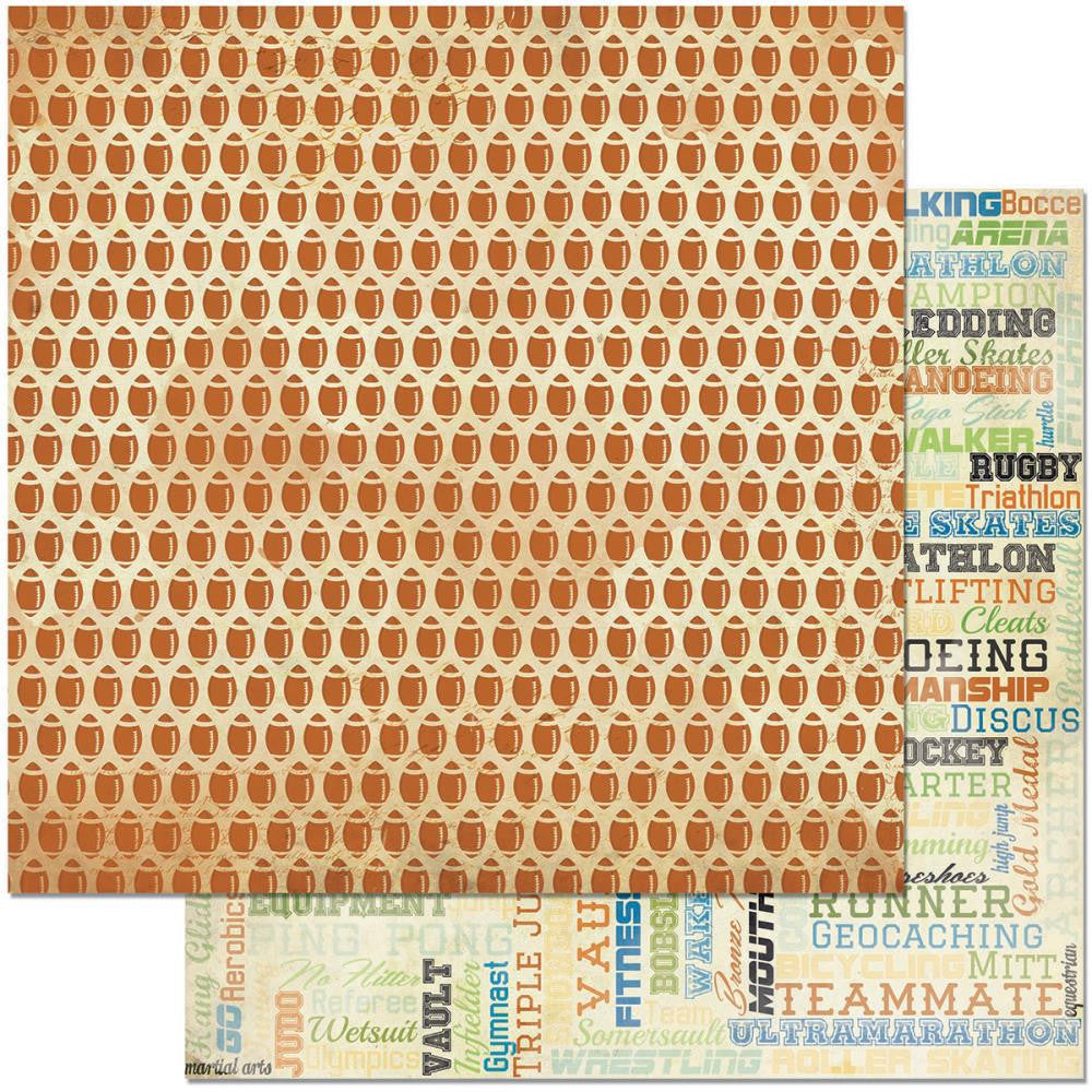 "BoBunny - Game On! Double-Sided Cardstock 12"" x 12"" - Pigskin"