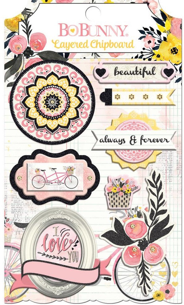 BoBunny - Petal Lane Adhesive Layered Chipboard