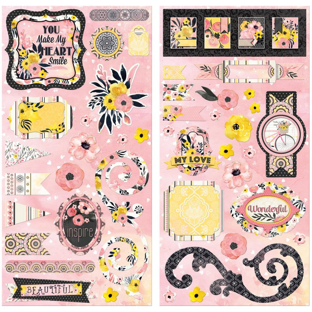BoBunny - Petal Lane Adhesive Layered Chipboard Accents