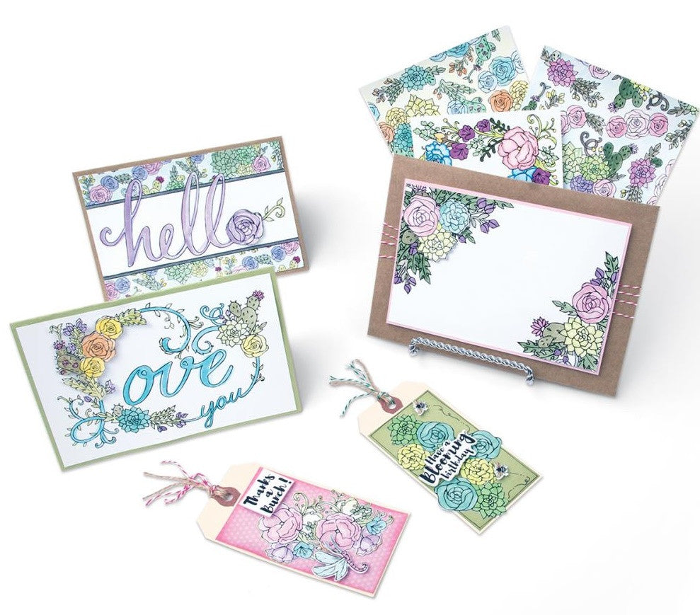 Sizzix - Coloring Cards with Stamps By Jen Long - In Bloom