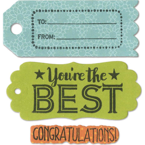 Sizzix - Framelits Dies with Stamps - Tag Sentiments #1