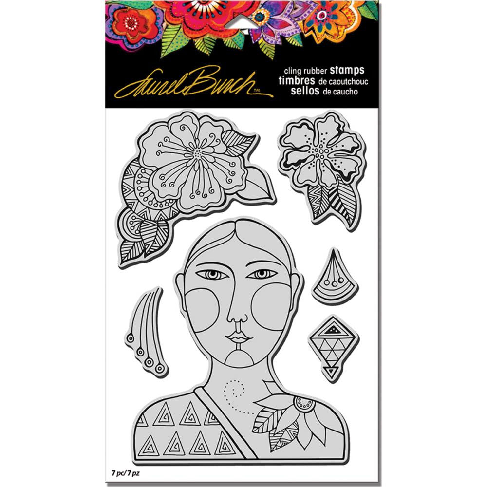 "Stampendous - Laurel Burch Cling Stamps with Template 9"" x 5.25"" - Blossoming Woman"
