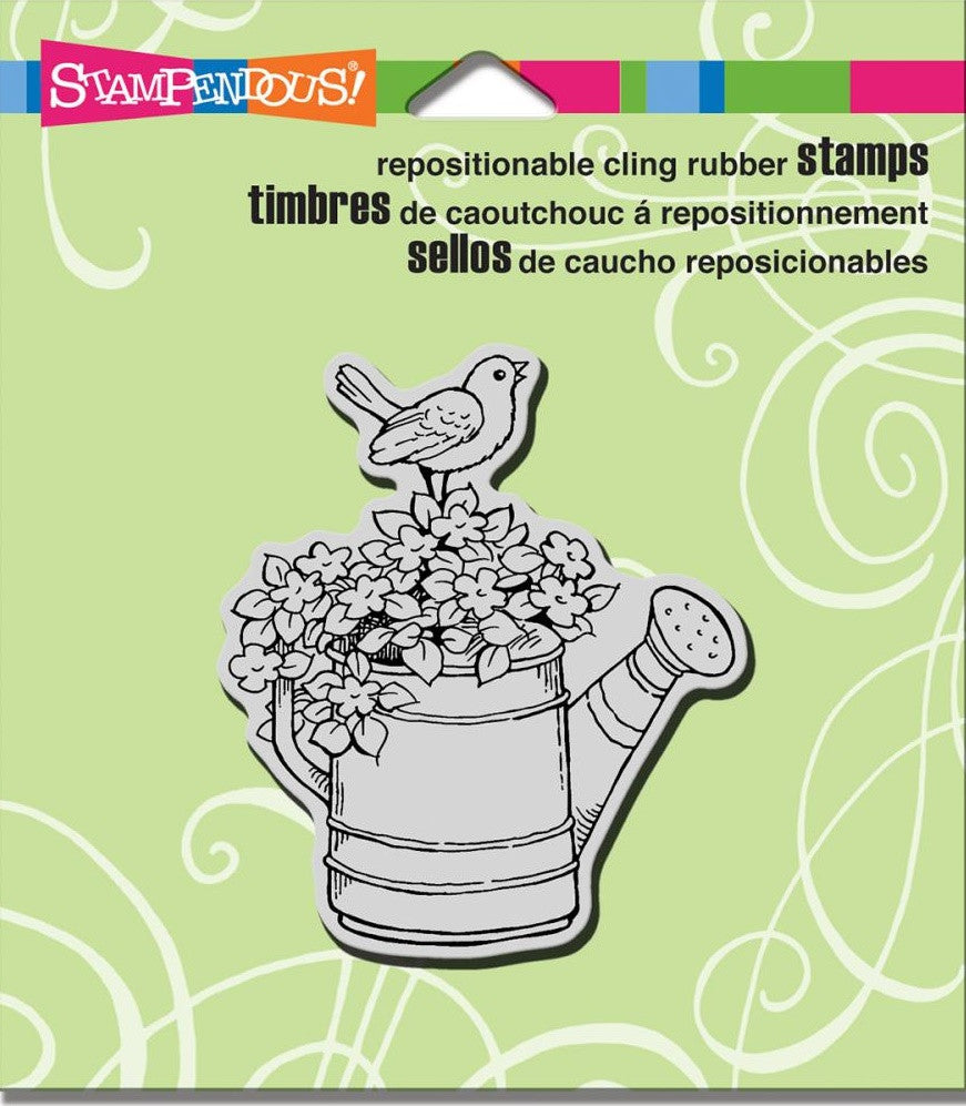 "Stampendous - Cling Stamps 4.75"" x 4.5"" - Watering Can Bird"