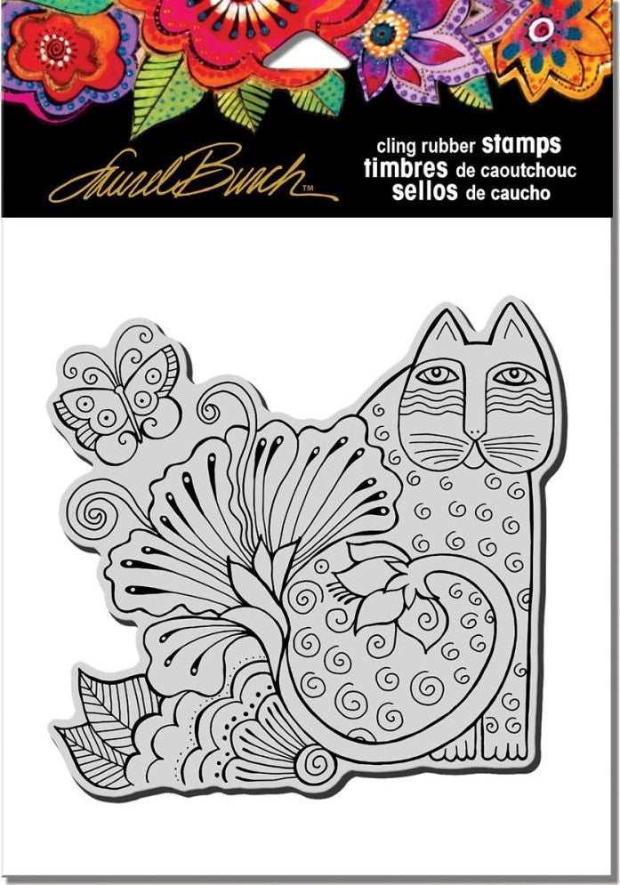 "Stampendous - Laurel Burch Cling Stamps 6.5"" x 4.5"" - Blossoming Feline"