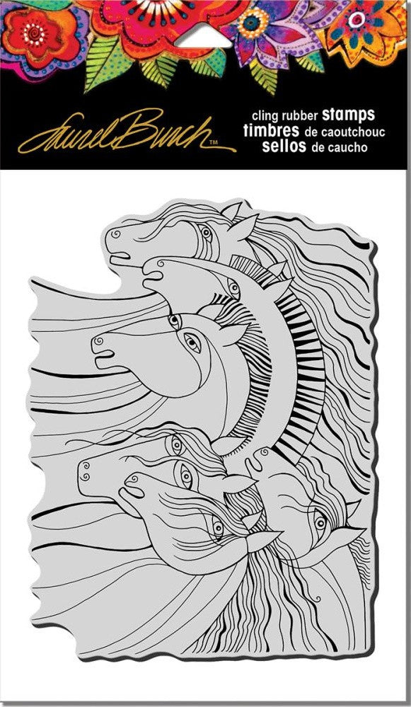 "Stampendous - Laurel Burch Cling Stamps 7.75"" x 4.5"" - Wild Horses"