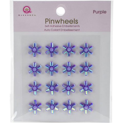Queen & Co Pinwheels Self-Adhesive Embellishments 16/Pkg Purple (Shaker Card)