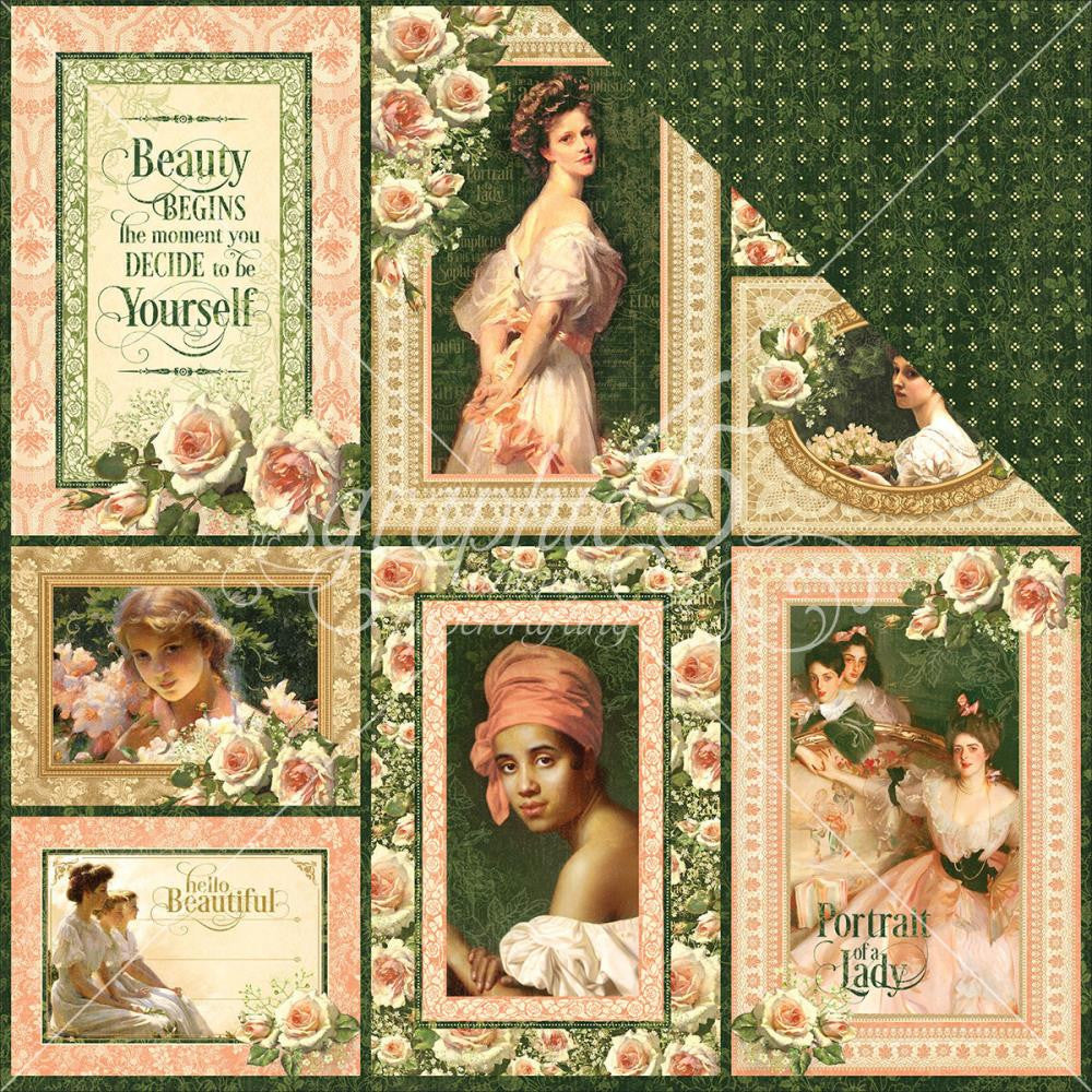 "Graphic 45 - Portrait Of A Lady Double-Sided Cardstock 12"" x 12"" - Maria"