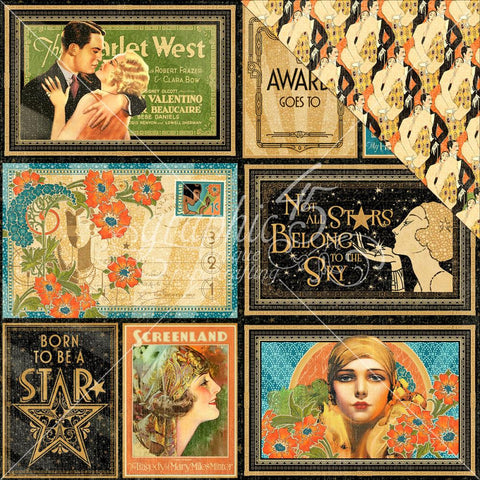 "Graphic 45 - Vintage Hollywood Double-Sided Cardstock 12"" x 12"" - Spotlight"