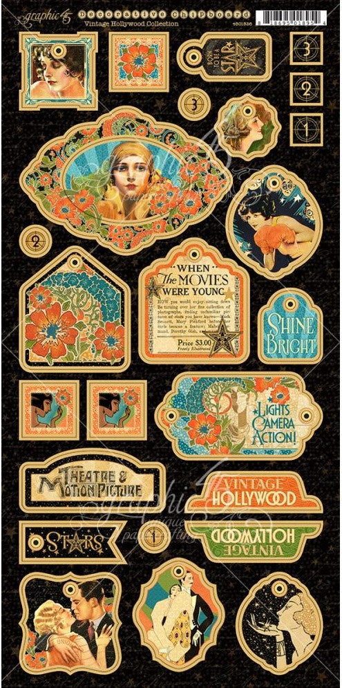 "Graphic 45 - Vintage Hollywood Chipboard Die-Cuts 6"" x 12"" Sheets - Decorative"