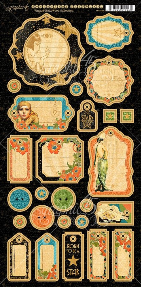"Graphic 45 - Vintage Hollywood Chipboard Die-Cuts 6"" x 12"" Sheets - Journaling"