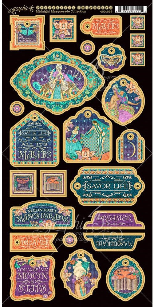 Graphic 45 - Midnight Masquerade Chipboard Die-Cuts - Decorative