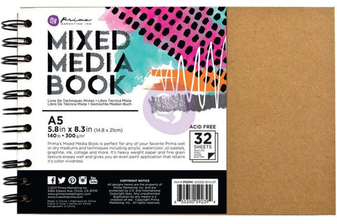Prima Marketing - Mixed Media Spiral Bound A5 Kraft Book