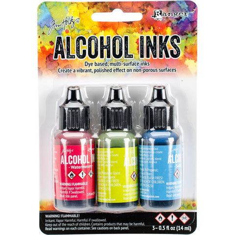 Ranger - Tim Holtz Alcohol Ink, .5oz, 3/Pkg -Dockside Picnic-Watermln/Citrus/Sailboat