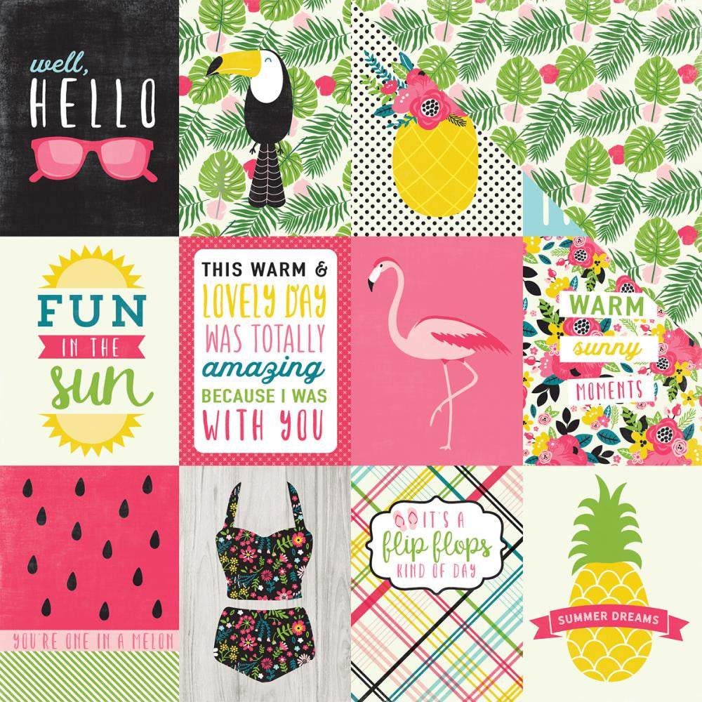 "Echo Park Paper - Summer Fun Double-Sided Cardstock 12"" x 12"" - 3"" x 4"" Journaling Cards"
