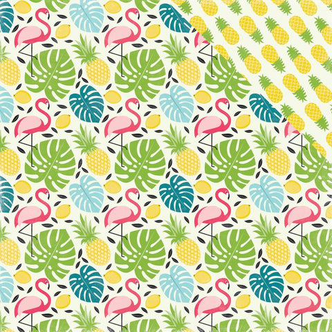 "Echo Park Paper - Summer Fun Double-Sided Cardstock 12"" x 12"" - Flamingo & Palm"