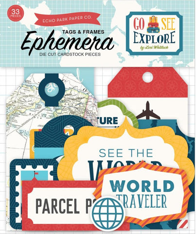 Echo Park Paper - Go, See, Explore Ephemera Cardstock Die-Cuts - Frames & Tags (Available: March 16, 2017)