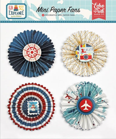 Echo Park Paper - Go, See, Explore Decorative Mini Paper Fans (Available: March 16, 2017)