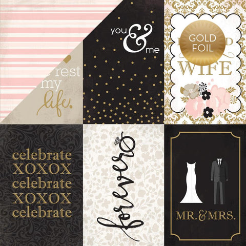 "Echo Park Paper - Wedding Bliss Foiled Cardstock 12"" x 12"" - 4"" x 6"" Journaling Cards (Available: April 17, 2017)"