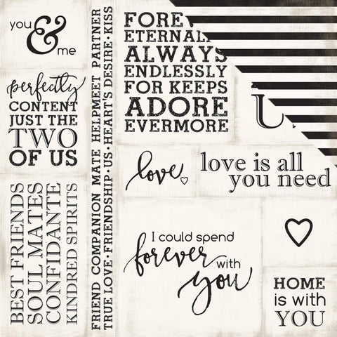 "Echo Park Paper - Wedding Bliss Double-Sided Cardstock 12"" x 12"" - Loving Words (Available: April 17, 2017)"