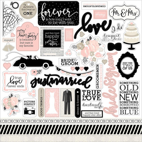 "Echo Park Paper - Wedding Bliss Cardstock Stickers 12"" x 12"" - Elements (Available: April 17, 2017)"