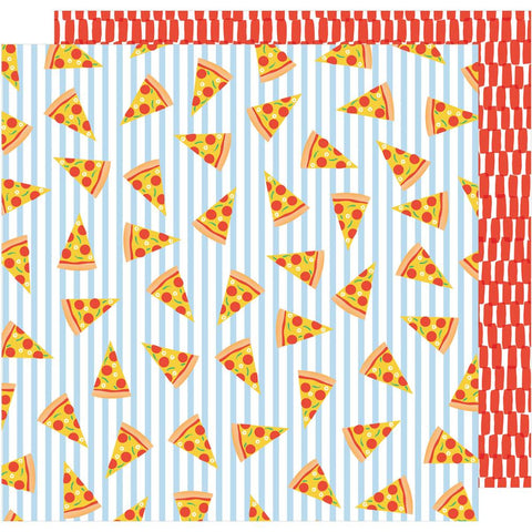 "American Crafts, Amy Tan On A Whim Double-Sided Cardstock 12""X12"" - Pizza Party"