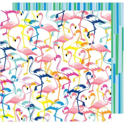 "American Crafts, Amy Tan On A Whim Double-Sided Cardstock 12""X12"" - Let's Flamingle"