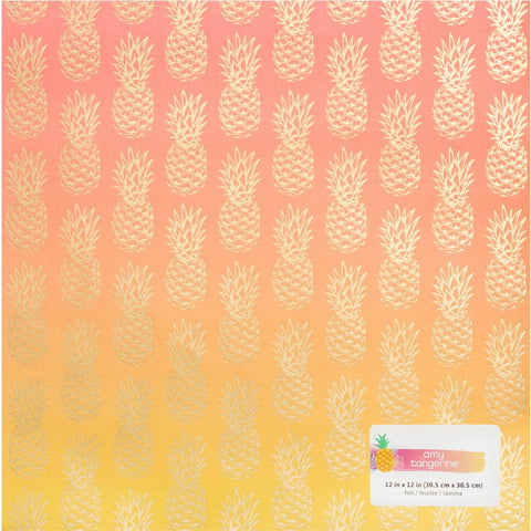 "American Crafts, Amy Tan On A Whim Foiled Cardstock 12""X12"" - Pineapple Ombre"