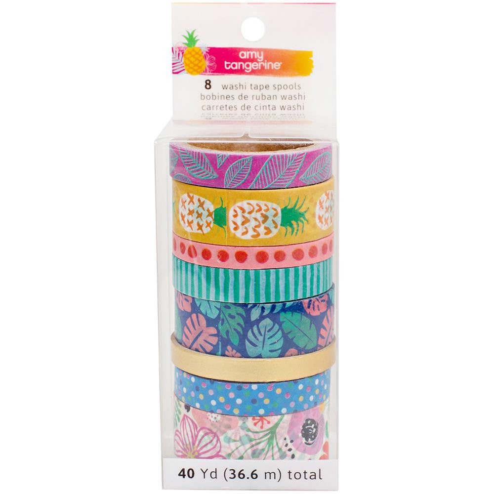American Crafts, Amy Tan On A Whim Washi Tape Rolls 8/Pkg  - 40 Yards Total