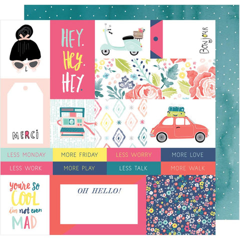 "American Crafts, Dear Lizzy Lovely Day Double-Sided Cardstock 12""X12"" - Hey, Hey, Hey"