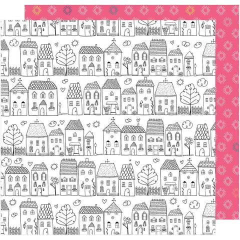 "American Crafts, Dear Lizzy Lovely Day Double-Sided Cardstock 12""X12"" - One Fine Day (Coloring Page)"