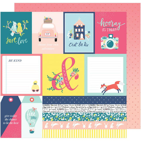 "American Crafts, Dear Lizzy Lovely Day Double-Sided Cardstock 12""X12"" - C'est La Vie"