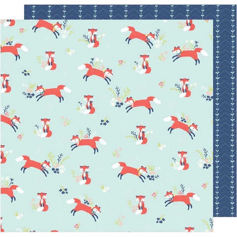 "American Crafts, Dear Lizzy Lovely Day Double-Sided Cardstock 12""X12"" - Foxy Friend"