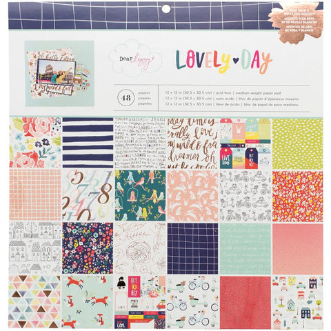 "American Crafts, Single-Sided Paper Pad 12""X12"" 48/Pkg - Dear Lizzy Lovely Day (Availability: January 29, 2017))"