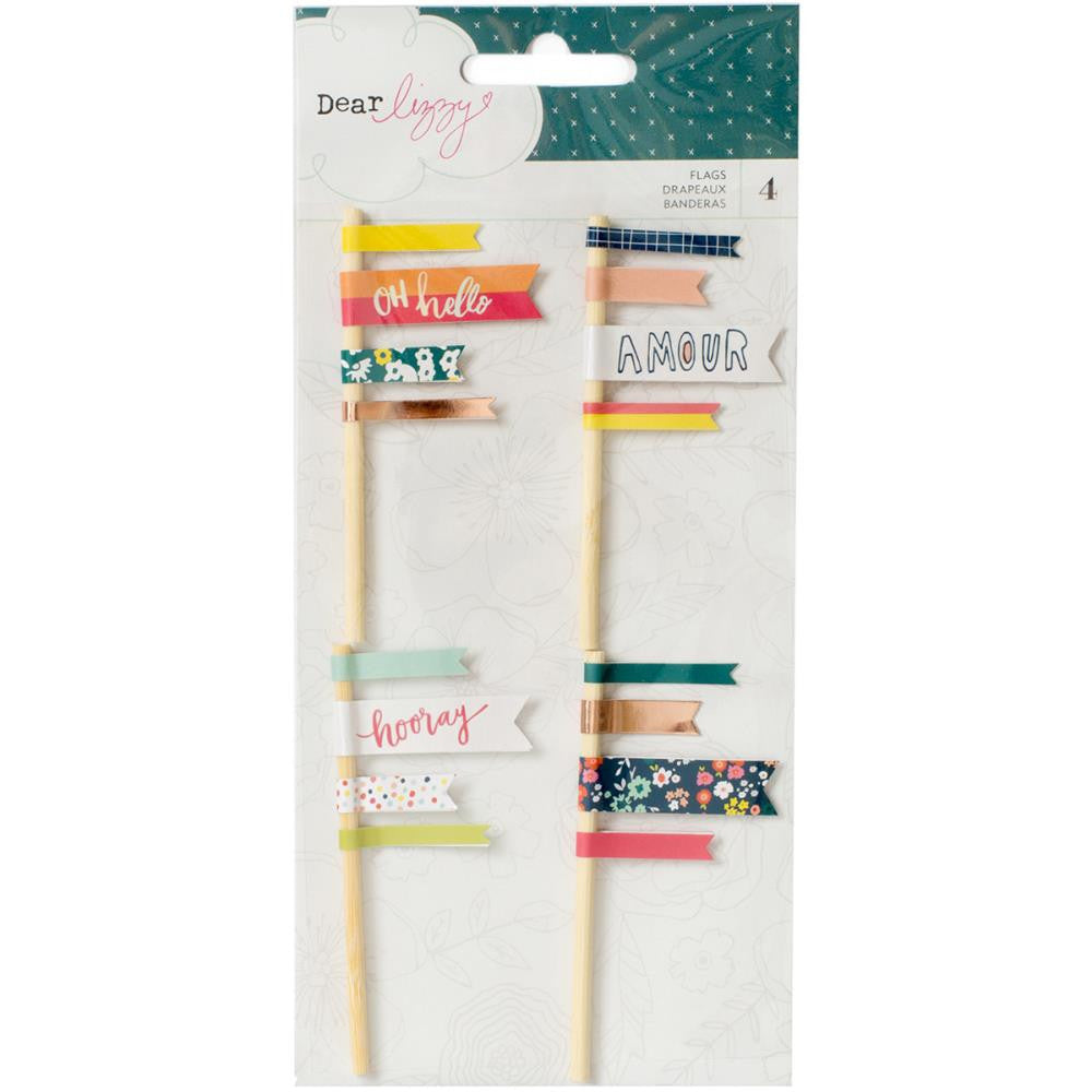 American Crafts, Dear Lizzy Lovely Day Layered Flags 4/Pkg - W/Rose Gold Foil