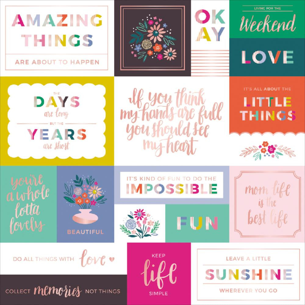 "Pink Paislee, Paige Evans Oh My Heart Foiled Cardstock 12""X12"" - W/Rose Gold"