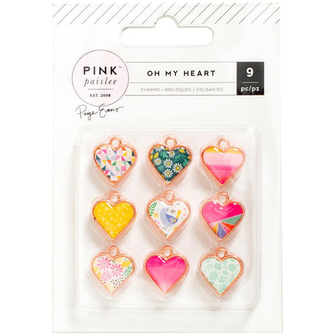 Pink Paislee, Paige Evans Oh My Heart Metal & Resin Charms 9/Pkg - Hearts W/Rose Gold (Available 1/25)