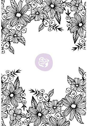 Prima Marketing - Christine Adolf Cling Rubber Stamps - Daisy Frame