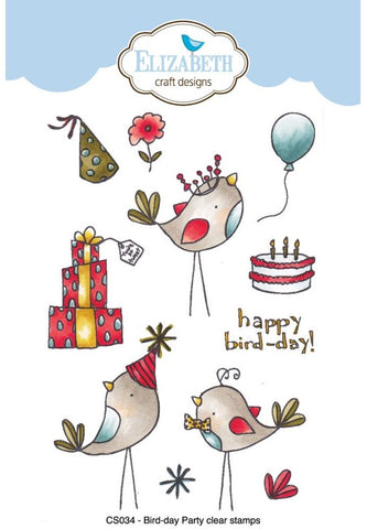 ***Pre-Order*** Elizabeth Craft Designs - Clear Stamps By Krista Designs - Bird-Day Party